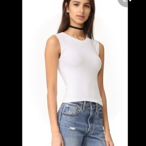 Free People Tops - FREE PEOPLE High Neck Seamless Muscle Tee White
